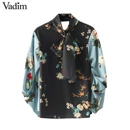 Wholesale Cut Out Back Shirt - Vadim women bow tie neck floral shirts with gathered sleeves back cut out long sleeve vintage blouse chic tops blusas LT2371