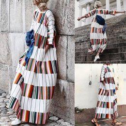 Fashion Plus Size Women Boho Striped Maxi Long Dress Casual Holiday Festival  Loose Sexy Girls Dress Summer 1222168aa715