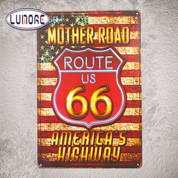 Bar rustiche online-Shabby chic Home Bar Stati Uniti d'America Mother Road Route 66 Targhe in metallo Targhe Home Decor Rustic Wall Plaque