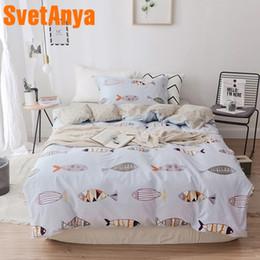 juegos de sábanas de lino puro Rebajas Svetanya puro sábana de algodón funda de almohada Manta Conjuntos de ropa de cama Peces impresos individuales tamaño doble ropa de cama