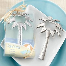 beach wedding favor bottle opener Promo Codes - Palm Breeze Chrome Palm Tree Bottle Opener Parts Beach Theme Wedding Favor Souvenirs Party Favor Wedding Giveaways Gift