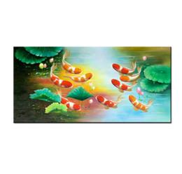 Pittura a olio di pesce koi online-Cina vento Koi Art Wall Art Feng Shui Pittura A Olio di Pesce 100% Dipinto A Mano Animale Moderna Tela Soggiorno camera Da Letto Decorazione Domestica AFS042