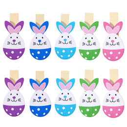 Wholesale Wooden Peg Crafts - 10pcs Lovely Rabbit Colored Wooden Pegs Note Memo Photo Clips Holder Craft Clips With Jute Twine For Easter Party Decoration