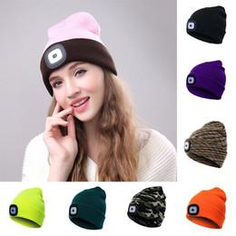 17 colores LLEVÓ sombreros de luz Tipo de batería Gorros de invierno Pesca Gorras  de camping Sombreros de punto Camping Sombrero de ganchillo al aire libre  ... f3333f5b99f