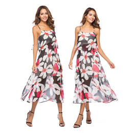 Wholesale Resort Beach Wear - Party Wearing Dresses Women Clothing Sexy Fake Two-piece Beach Resort with A Thin Chiffon Printed Dress with A Bohemian Dress