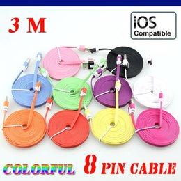 Canada Câble USB de données colorées pour charge de synchronisation de nouilles plates 3M 10 pi 8 couleurs pour iiphoneX / 8Plus / 8 / 7Plus / 7 / 6sPlus / 6s support IOS 11 Livraison gratuite Offre