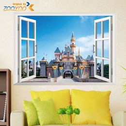 Wholesale wall art for girls room - fantastic princess castle 3d fake window wall stickers for girls room home decor diy cartoon pvc mural art kids walls decals