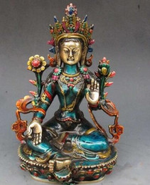 Wholesale Chinese Cloisonne - decoration bronze factory Pure Brass Antique 8.66 inch Exquisite Chinese hand-carved cloisonne buddhist Buddha green tara statue