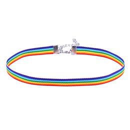 Argentina collar de encaje hombres Mujeres Gay Pride Rainbow Choker Collar Gay and Lesbian Pride Lace Chocker Ribbon Collar con Colgante drop ship DHL 162572 cheap ribbon choker necklaces for women Suministro
