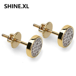Wholesale 14k cz earrings - Men's 7mm Circle Gold and Silver Micro Pave CZ Screw Back Stud Earrings for Women Wedding Party Jewelry