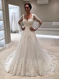 Wholesale Simple Long Sweetheart Neckline Dress - Modest White Long Sleeves Wedding Gowns 2018 Sheer Appliques Lace Off Shoulder Wedding Dresses Scoop Neckline Bride Dress Custom Made