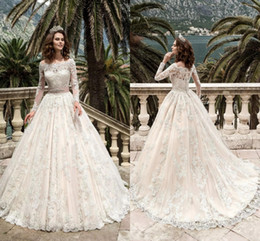 Wholesale turkey cover - 2018 Long Sleeve Full Lace Wedding Dresses Turkey Boat Neck A Line Country Western Sash Beads Wedding Dresses Bridal Gowns HY228