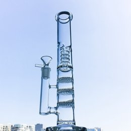 Percolateur à caverne à oiseaux en Ligne-Tall Glass Bongs Triple nid d'abeille Huile Dab Rig Birdcage Percolator Conduite D'eau avec 18mm Joint Femelle Nouveautés HR316