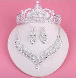 silberne halskette diamante Rabatt Braut Kronen für Bräute funkelnde Halskette Set Hochzeit Diamante Pageant Diademe Haarband Kristall Prom Pageant Haarschmuck Kopfschmuck Silber