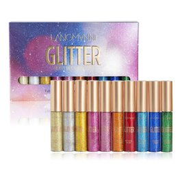 10 pz / set Liquid Eyeliner Shining Waterproof Glitter Shimmer Eyeliner Long Lasting Colorful Makeup Eyeliner frizzante da