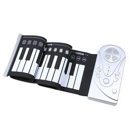 2019 mikrofone kinder großhandel 49 Schlüssellautsprecherhand rollen elektronisches Klavier tragbare faltende elektronische weiche Tastatur rollen das Klavier auf