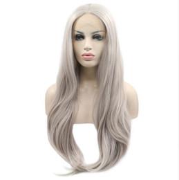 Parrucca MHAZEL lunga ondulata naturale # 4503 grigio hait frontale in pizzo glueless per donna parte centrale 26 pollici da