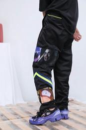 Полосатый танец онлайн-2018 90-х годов высокое качество новая япония мода хип-хоп рэп-стрит танец мультфильм мозаика флуоресцентные зеленые полосы мужчины женщины противотуманные штаны повседневные брюки