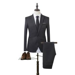 Wholesale straight wedding dresses - MUQGEW (Jackets+Pants) 2017 New Men Business Suits Slim Fit Tuxedo Brand Fashion Bridegroon Business Dress Wedding Suits Blazer