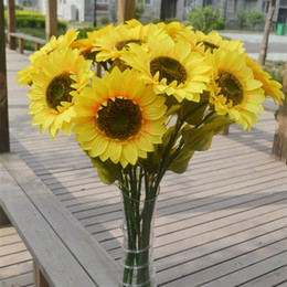 Wholesale Long Fake Flowers - Sunflower Fake Sun Flower Artificial Sunflowers 72cm Long For Home Garden Balcony Windowsill Decoration Yellow Color