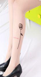 Wholesale Tattoo Pantyhose Black - Sexy Women Fashion Japan Angel Animal Mock Knee High Tattoo Tights Pantyhose Pattern Printed Stockings LY6