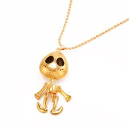 alien charms Promo Codes - Fashion Alien Charm Beads Chain Necklace For Women Girls Gold Punk Skull Necklaces Nightmare Before Christmas Jewelry Gifts