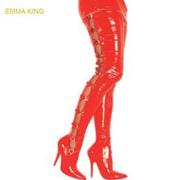 Modello di scarpe da ballo online-Botas Stretched Shiny Model Show Boots For Women High Highizedized Scarpe Donna Stivali Tacchi alti Sexy pole dancing