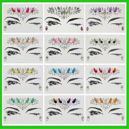 Wholesale eye tattoo crystal - Body Face Art Flash Forehead Gems Tattoo Stickers Women Prom Easy To Use DIY Adhesive Eye Crystal Temporary Decor Jewel Paste 10cps set