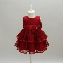 2019 красные белые полосатые дети платье От 3 до 24 месяцев Baby Girl цветочные банты кружевные платья, детская летняя прекрасная одежда, детская свадебная одежда / одежда для крестин, 2 AM710DS-02