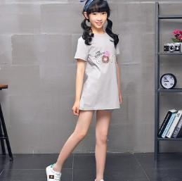 Wholesale New Beautiful Shirts - 2018 summer new high-end fashion girl in the long section T dress T-shirt beautiful girl dress children's dress skirt