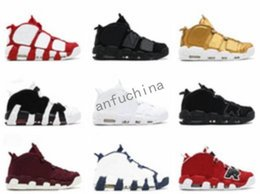 Wholesale Cotton Polyester Satin Fabric - 2018 Newest release air more uptempo SUPTEMPO mid gold black for Men's Basketball boots CHI Scottie Pippen Shoes High Quality sneakers