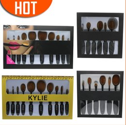 Wholesale Hair Oval - Kylie cosmetics 10pcs Toothbrush Make up Brushes Sets Oval Foundation Eyeshadow Face Makeup Brush maquillage Kits