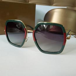Wholesale Alloy Designer Logos - 2018 woman sunglasses Brand lady luxury designer with box logo UV400 polarizing shining fashion sunglasses for women 4 colors