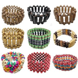 abacus gifts Coupons - Wooden Bead Bracelet Mix 9 Styles Stretch Strands Chain Three Five Rows Colorful Cylinder Round Abacus Wood Beads Charm Bracelets (JM009)