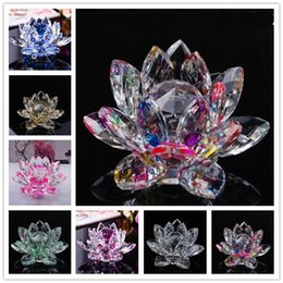 Wholesale Paperweights Gifts - DingSheng 80mm Artifial Crystal Lotus Flower Crafts Feng Shui Ornaments Figurines Glass Paperweight Party Gifts Wedding Decoration Souvenirs