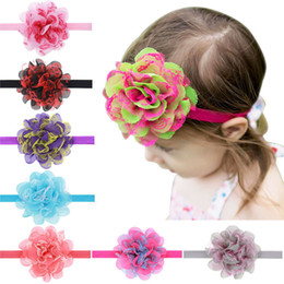 Wholesale Headbands Hair Nets - New net yarn double color elasticity hair band baby headdress flower fashion children head accessory T3G0022