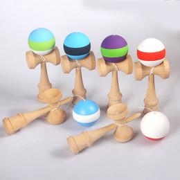 японская игрушка с мячом Скидка Kendama бал большой размер 18.5*6 см kendama бал японской традиционной древесины игры Toy kendama бал образование подарок оптом деревянные игрушки OTH873