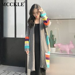 MCCKLE Herbst Frauen Gestrickte Cartoon Lange Strickjacken 2018 Korean  Langarm Weibliche Strickjacke Lässige Nette Damen Pullover 7efaad9aec