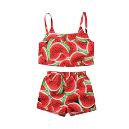 94631872425f 2018 New Fashion Toddler Kid Baby Girl Watermelon Sleeveless Top Shorts  Outfit Clothes Cute Sweet Summer Set