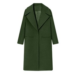 mujeres de sombrero de piel real verde Rebajas Para mujer Abrigo de lana de solapa de invierno Trench Jacket Abrigo de manga larga Outwear Chaqueta Casual Overcoat Top chica bolsillo prendas de vestir exteriores femenina
