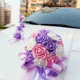 Wholesale Wedding Cars Flowers Set - 2017 NEW ribbon bowknot PE rose flower Wedding car flower decoration set garland pull