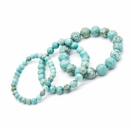 Wholesale turquoise stone round pendant - Natural Turquoises stone beads bracelets for women round beads bracelet jewelry with pendant vintage Hand Chain Jewelry
