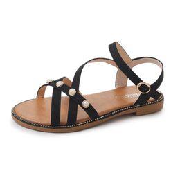 Wholesale Waterproof Slip Shoe Covers - Luxury Jewelry Women Sandal Waterproof Thicken Heel Lady Roman Sandals Shoes Fashion Casual Soft Flat Beach Holiday Shoe Free Shipping