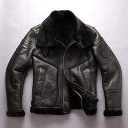 Wholesale Black Leather Flight Jacket - Black Avirex fly USA B3 air force flight jackets motorcycle jacket 2013 flying wear sheepskin genuine leather jackets AVIREX