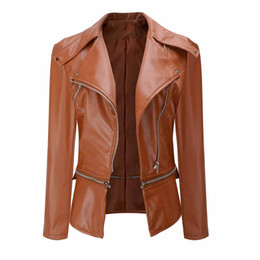 Wholesale Ladies Leather Coats Wholesale - Wholesale- 2017 Winter Style Women PU Jacket Coat Slim Faux PU Leather Basic Outwear Coats Casual Ladies Casaco Plus Size Overcoat WDC461