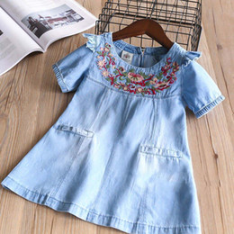 Wholesale Denim Floral - Everweekend Girls Floral Embroidered Ruffles Denim Dress Cute Baby Fly Sleeve Clothes Princess Spring Summer Holiday Clothing