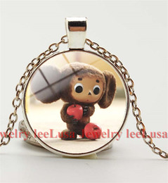 Wholesale Russian Gold Jewelry - Russian Cartoon Cheburashka Art pcture Pendant Necklace gift for children ,Picture Glass Dome Jewelry,