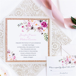 Wholesale classics house - 2018 Classic Bohemian Rustic Spring Flower Glittery Rose Gold Laser Cut Invitations, Free Shipping By UPS
