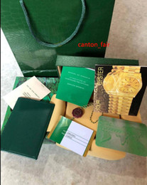 Wholesale wooden wood watch - Mens For ROLEX Watch Box Original Green Wooden Box Inner Outer Unisex Woman's 116610 Factory 116660 Luxury Brand 116710 Men Watches Boxes