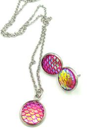Orecchini druzy cristallo collana di diamanti da donna Set Classic scala mermail Elements 20 colori opzionale Wedding Dinner Party Jewelry da orecchini da cena fornitori